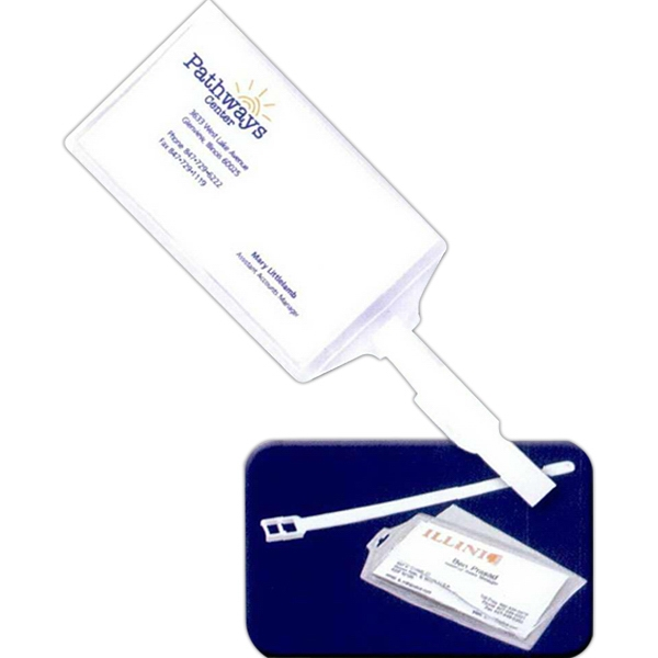 Snap-in Luggage Tag With Plastic White Luggage Strap Photo