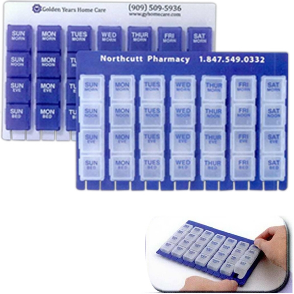 28 Slot Pill Box With Snap-in Compartments Photo