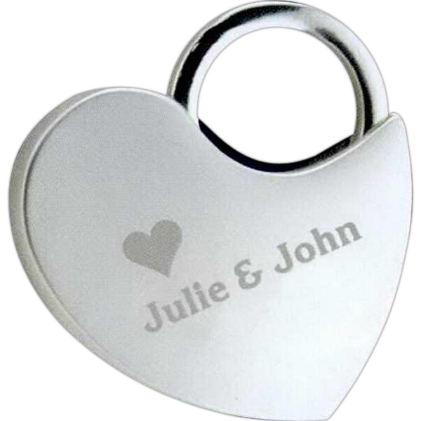 Nickel Plated Locking Heart Key Tag Photo