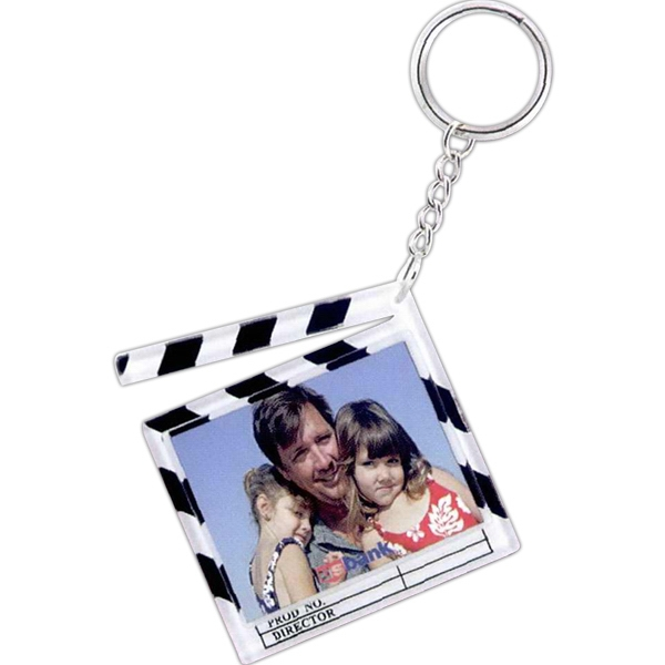 White Clapboard Snap-in Key Tag With Black Stripes Photo