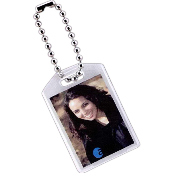 "Slip-in Key Tag With Chain, Insert Size: 2 - 1 1/4"" X 1 9/16"" Photo"