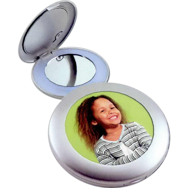 Illuminated Photo Compact Mirror With Magnified Mirror And Lighted Regular Mirror Photo