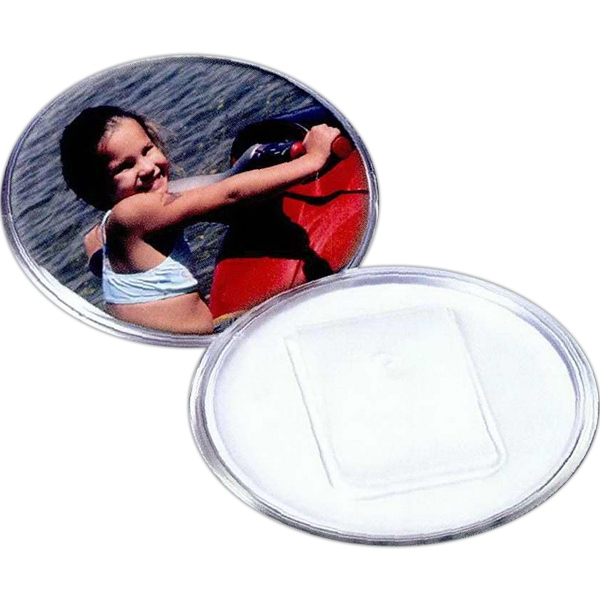 "2 7/8"" Snap-in Safety Clip Back Plastic Button. Blank Photo"