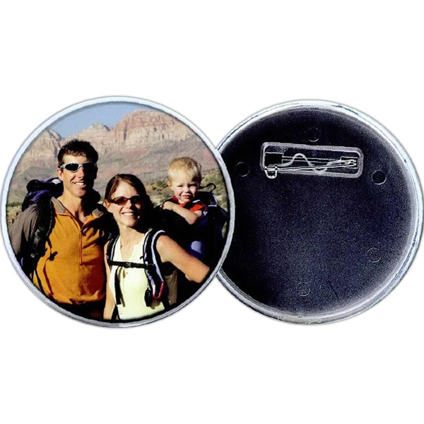 "2 1/4"" Snap-in Photo Button With Pin Back. Blank Photo"