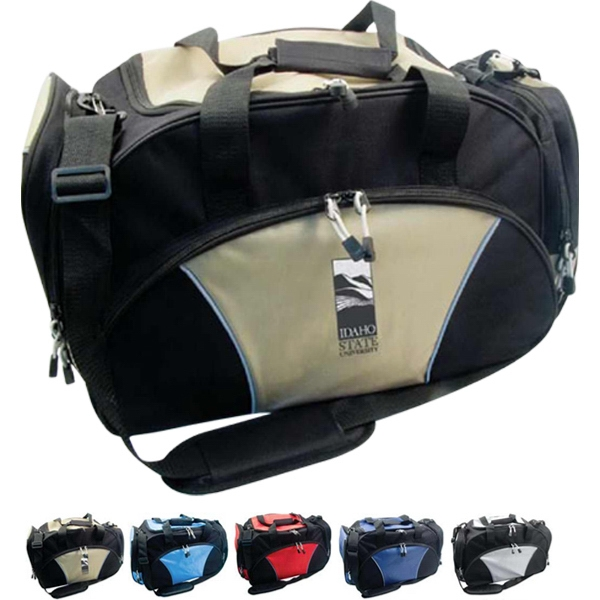 Deluxe Travel Bag With 2 Side Pockets. Reflective Piping Photo