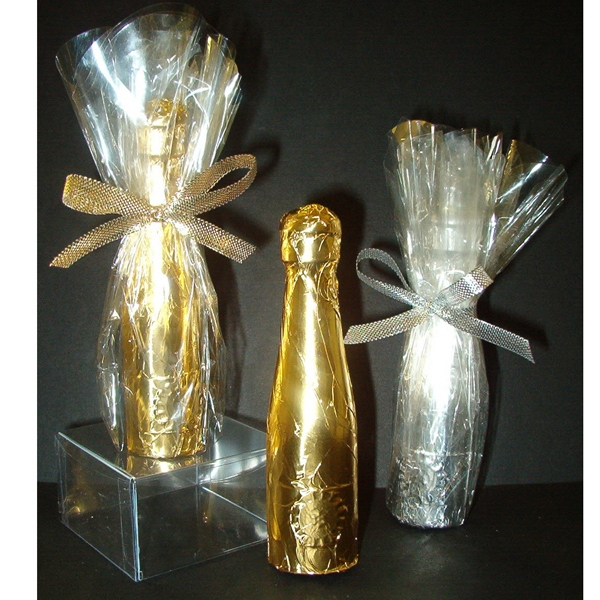 Chocolate champagne bottle shape
