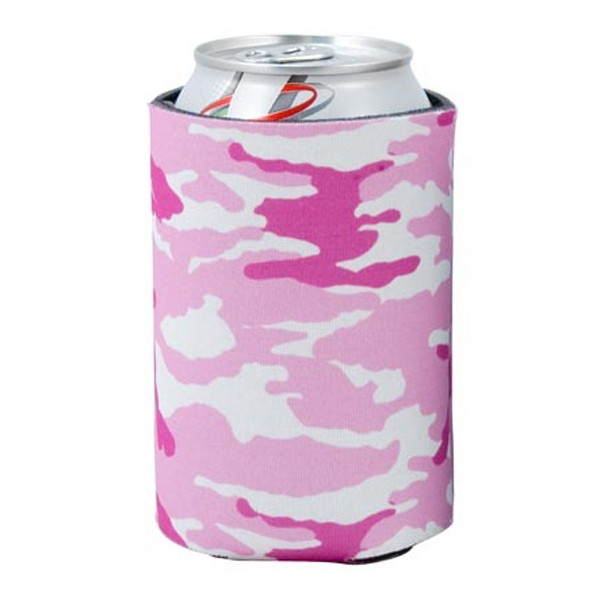Pocket Coolie (r) - Open Cell Scuba Foam Can Insulator With Pink Camo Design Photo