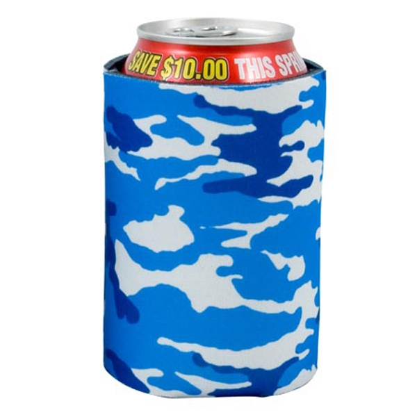 Pocket Coolie (r) - Open Cell Scuba Foam Can Insulator With Blue Camo Design Photo