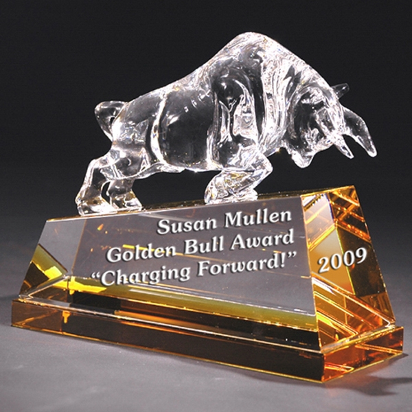 Charging Bull - Charging Bull On Gold Base Crystal Figurine By Crystal World Photo