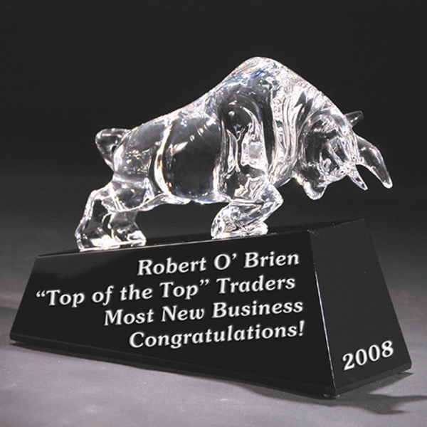 Charging Bull - Charging Bull - Crystal Sculpture On Black Base By Crystal World Photo