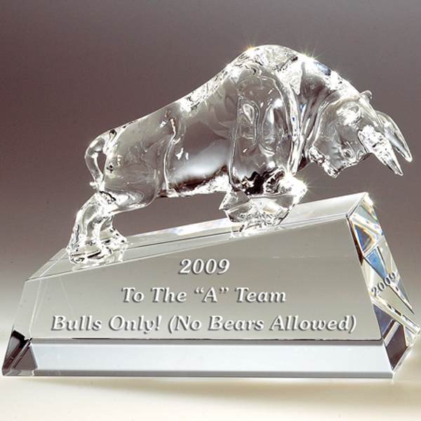 Charging Bull - Charging Bull On Clear Base Crystal Figurine By Crystal World Photo