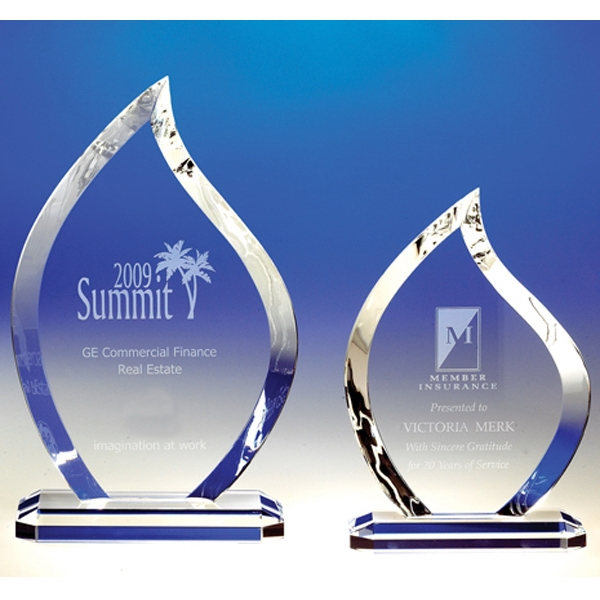 Flame - Fine Cut Crystal Flame Award With A Polished Edge Photo