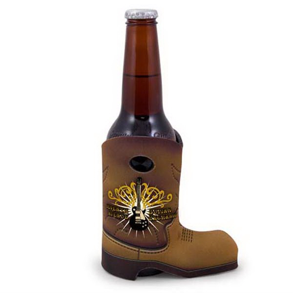 "Boot Coolie (tm) - Bottle Insulator With Western Boot, 1/8"" Thick Photo"