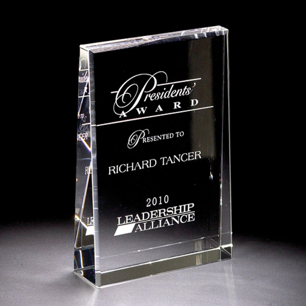"Leader - Leader Crystal Award By Crystal World. 5"" Sp192 Photo"