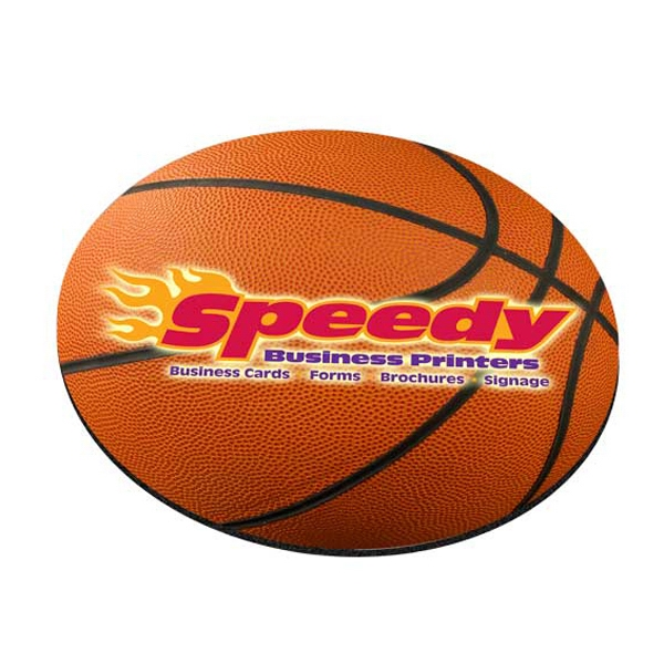 "Four Color Process, Mouse Pads, Round, Natural Rubber, 8"" Diameter, Basketball Photo"