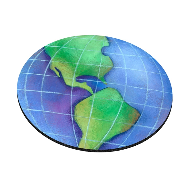 "Four Color Process, Mouse Pads, Round, Natural Rubber, 8"" Diameter, Globe Design Photo"