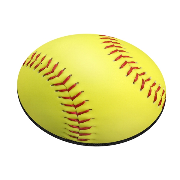 "Four Color Process, Mouse Pads, Round, Natural Rubber, 8"" Diameter, Softball Design Photo"