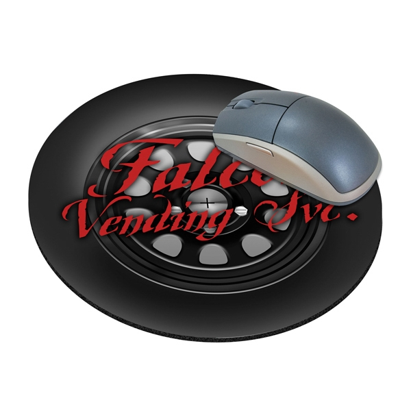 "Four Color Process, Mouse Pads, Round, Natural Rubber, 8"" Diameter, Tire Design Photo"