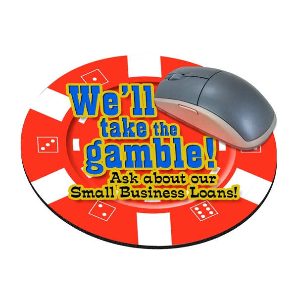 "Four Color Process, Mouse Pads, Round, Natural Rubber, 8"" Diameter, Casino Chip Photo"