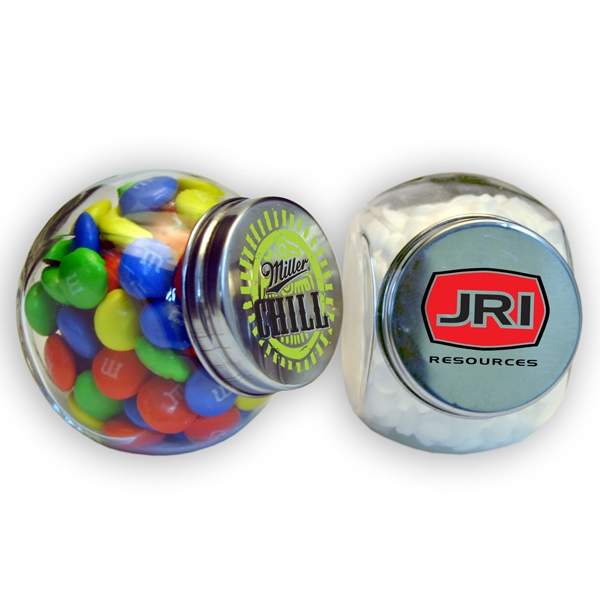 Small Glass Jar With Candy Coated Chocolates Photo
