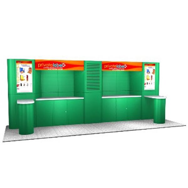 Laminate Panel Display System - Laminate panel display, back wall, plex headers, alcove and peninsula counter.