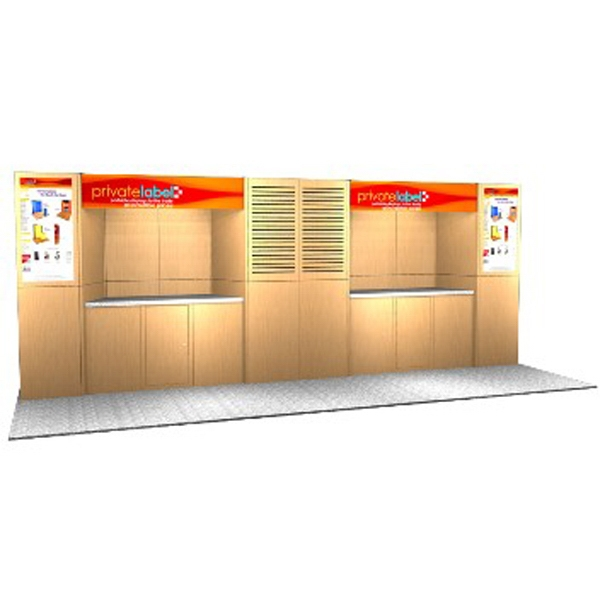 Abex 900 Laminate Panel Display System - Abex Laminate 20ft. panel display, back wall, 2-plex headers and alcove counters.