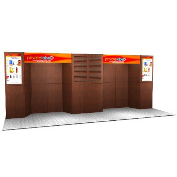 Laminate Panel Display System - Laminate 20ft. panel display, back wall, 2-plex headers, transport tub and 1-case.