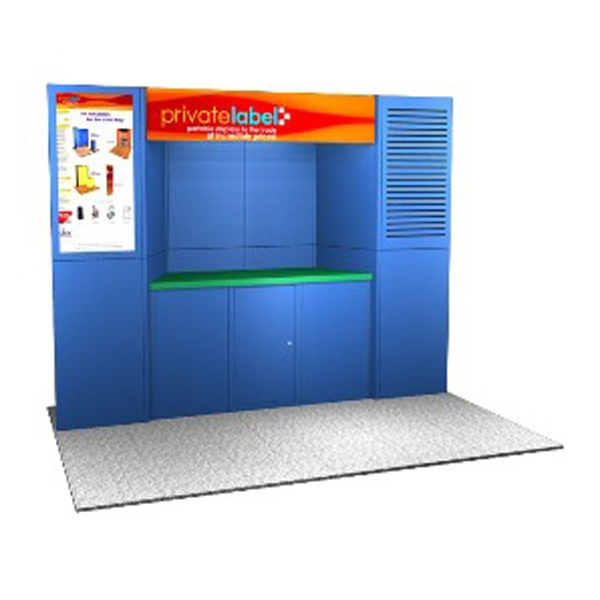 Laminate Panel Display System - Laminate 10ft. panel display system, back wall, plex header, and alcove counter.