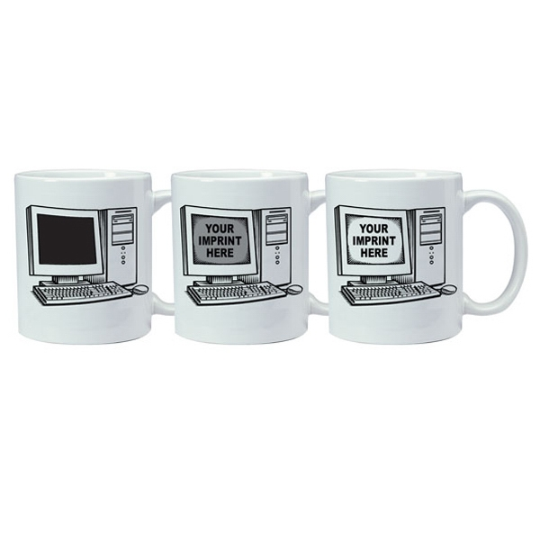 Magic Mug (tm) - Temperature Reactive Ceramic Mug With Computer/tech Trick Design Pattern, 11 Oz Photo