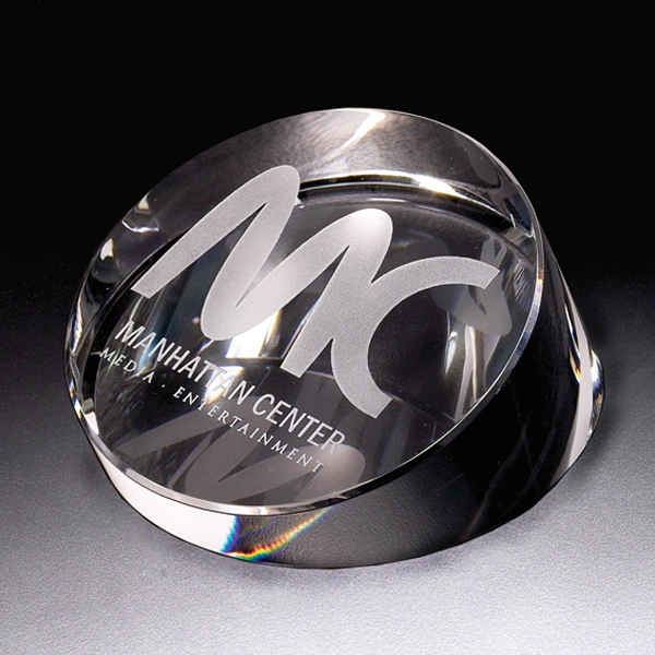 Continuum - Continuum Round Crystal Paperweight By Crystal World Photo