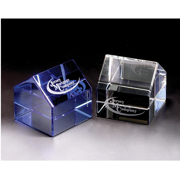 House - House Crystal Paperweight By Crystal World Photo