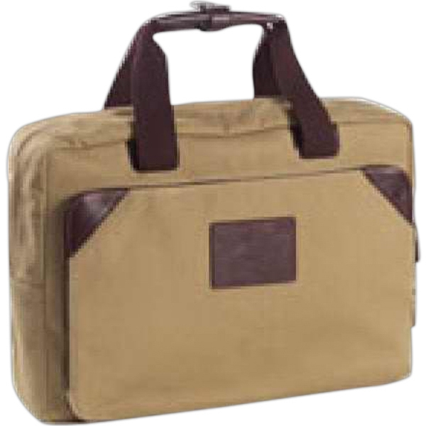 Redford - Canvas Briefcase With Leather Accents/padded Laptop Section With Interior Pocket Photo