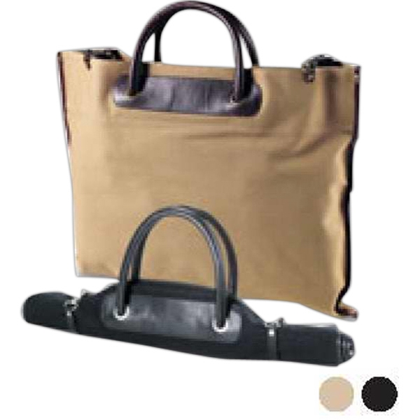 Redford - Heavy Natural Colored Canvas Twill Roll-up Tote With Leather Accents Photo