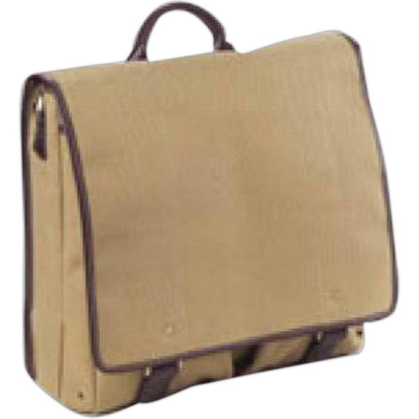 Redford - Leather Accented Canvas Mail Bag With Back Zip Pocket And Side Slash Pocket Photo