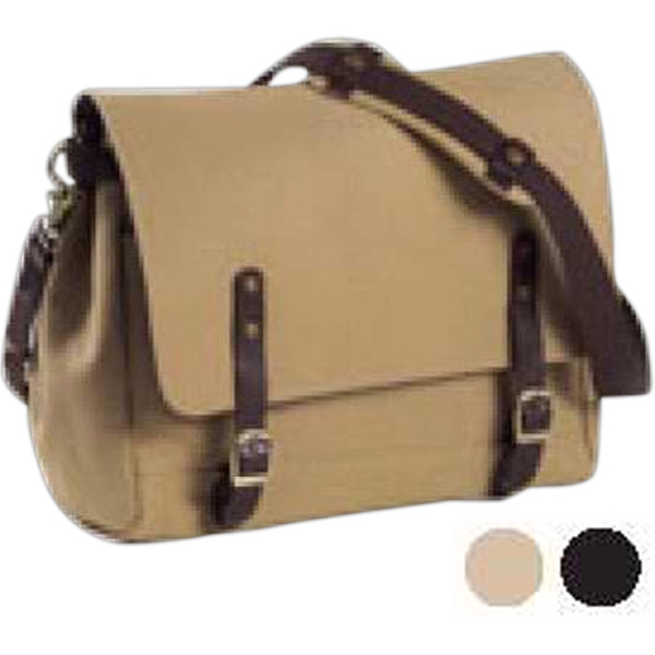 Redford - Canvas And Leather Courier Bag With Brass Hardware, Detachable/adjustable Strap Photo