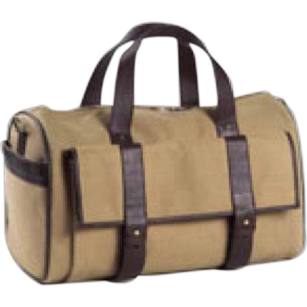 Redford - Canvas And Leather Pocket Duffel Bag, Large Front Gusset Pocket With Hidden Buckles Photo