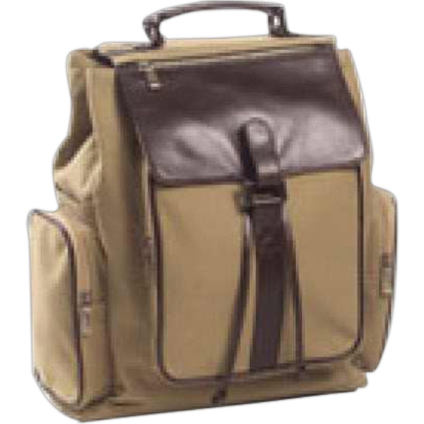 Redford - Canvas Backpack With Leather Accents Throughout, Magnetic Snap Flap With Zip Pocket Photo
