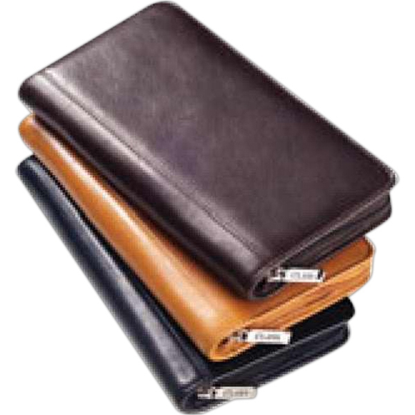 Clava(r) - Glazed Leather Passport Wallet, Zip Around With Interior Organizers Photo