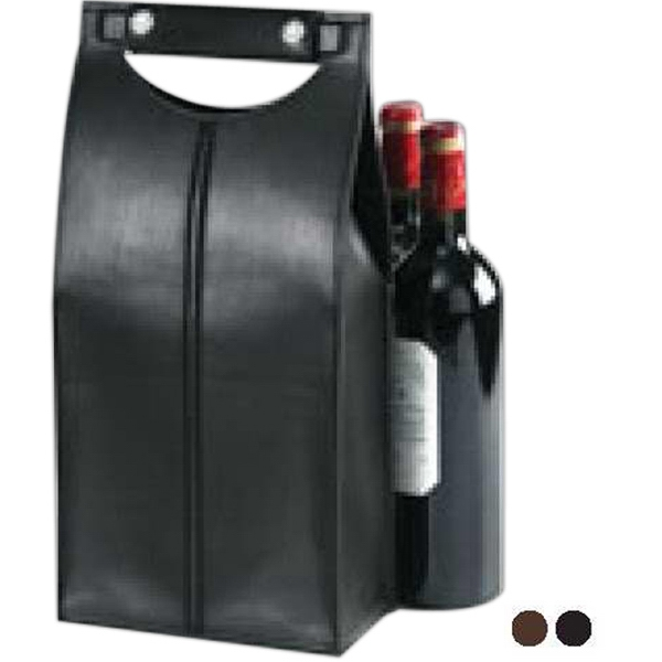 Clava(r) - Snap Handled Wine Tote, Faux Suede Lining And Center Divider For Large/small Bottles Photo