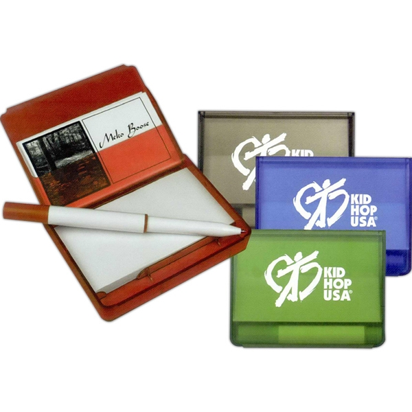 Notepad With Business Card Holder And Full Size Pen Photo