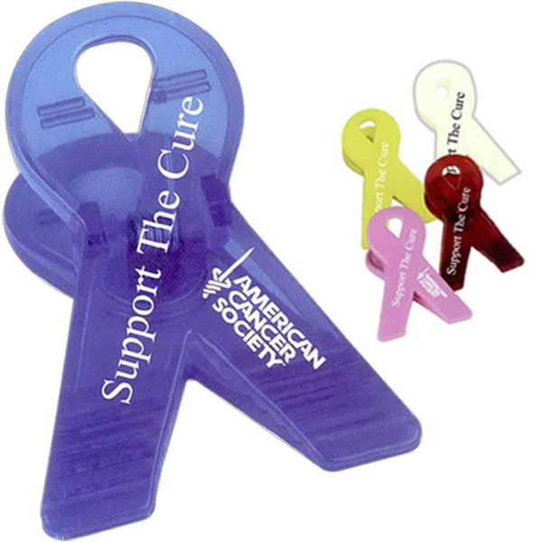 Awareness Ribbon Shaped Clip With Spring Loaded Hinge Photo