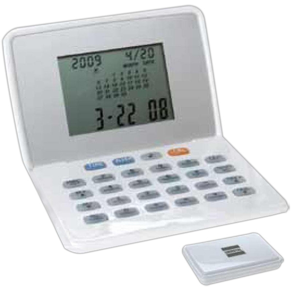 Gloss White Travel Clock With Calculator And Calendar Photo