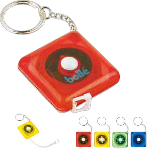 "Push Button Retract Translucent Vinyl Tape Measure Key Ring With 39"" Or 1 Meter Photo"