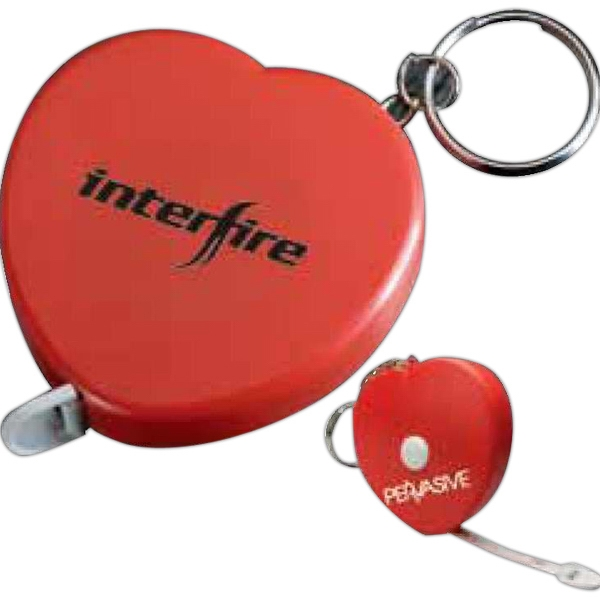 "Heart Shape Tape Measure Keychain That Extends To 60"" And Locks In Position Photo"