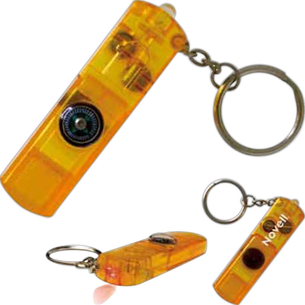 Three Function Whistle, Compass, Led Light Keychain Photo