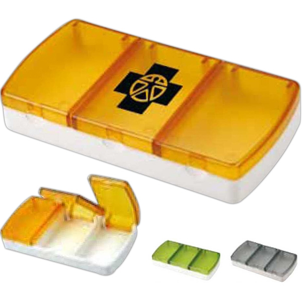 Unique 3 Compartment Hard Plastic Pill/vitamin Box Photo