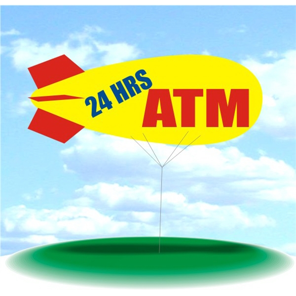 Helium Blimp Display - PVC 17' helium blimp outdoor use, 24 HRS ATM.