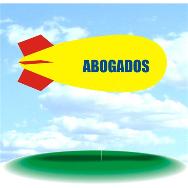 Helium Blimp Display - PVC 17' helium display blimp, indoor/outdoor use, ABOGADOS design.