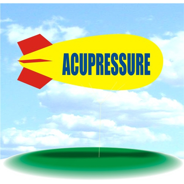 Helium Blimp Display - PVC 17' helium display blimp, indoor/outdoor use, ACUPRESSURE design.