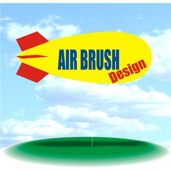 Helium Blimp Display - PVC 17' helium display blimp, indoor/outdoor use, AIR BRUSH DESIGN design.